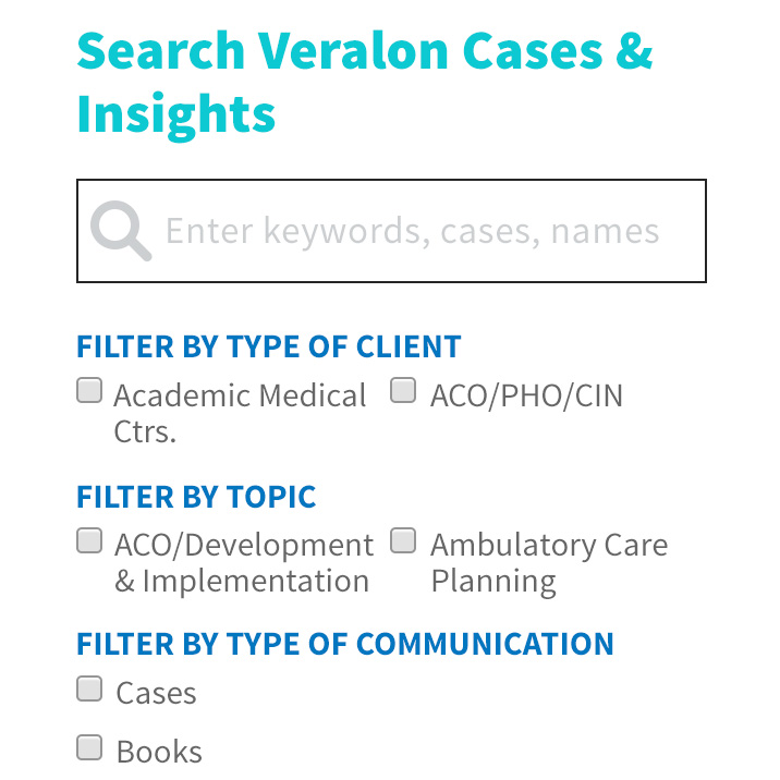 Veralon website search function screenshot