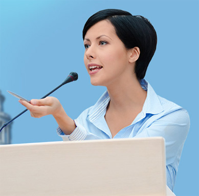 Woman giving speech