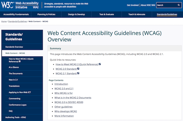 WCAG Guidelines Overview Website