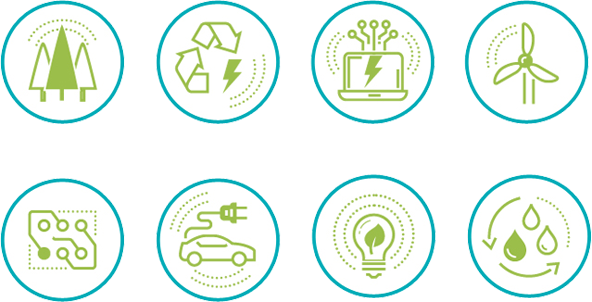 Greentech sectors icons